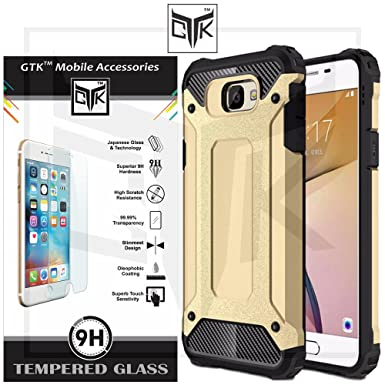 TheGiftKart HD Tempered Glass + Neo Hybrid Dual Layer Armor Back Cover for Honor 6X  Metallic Golden