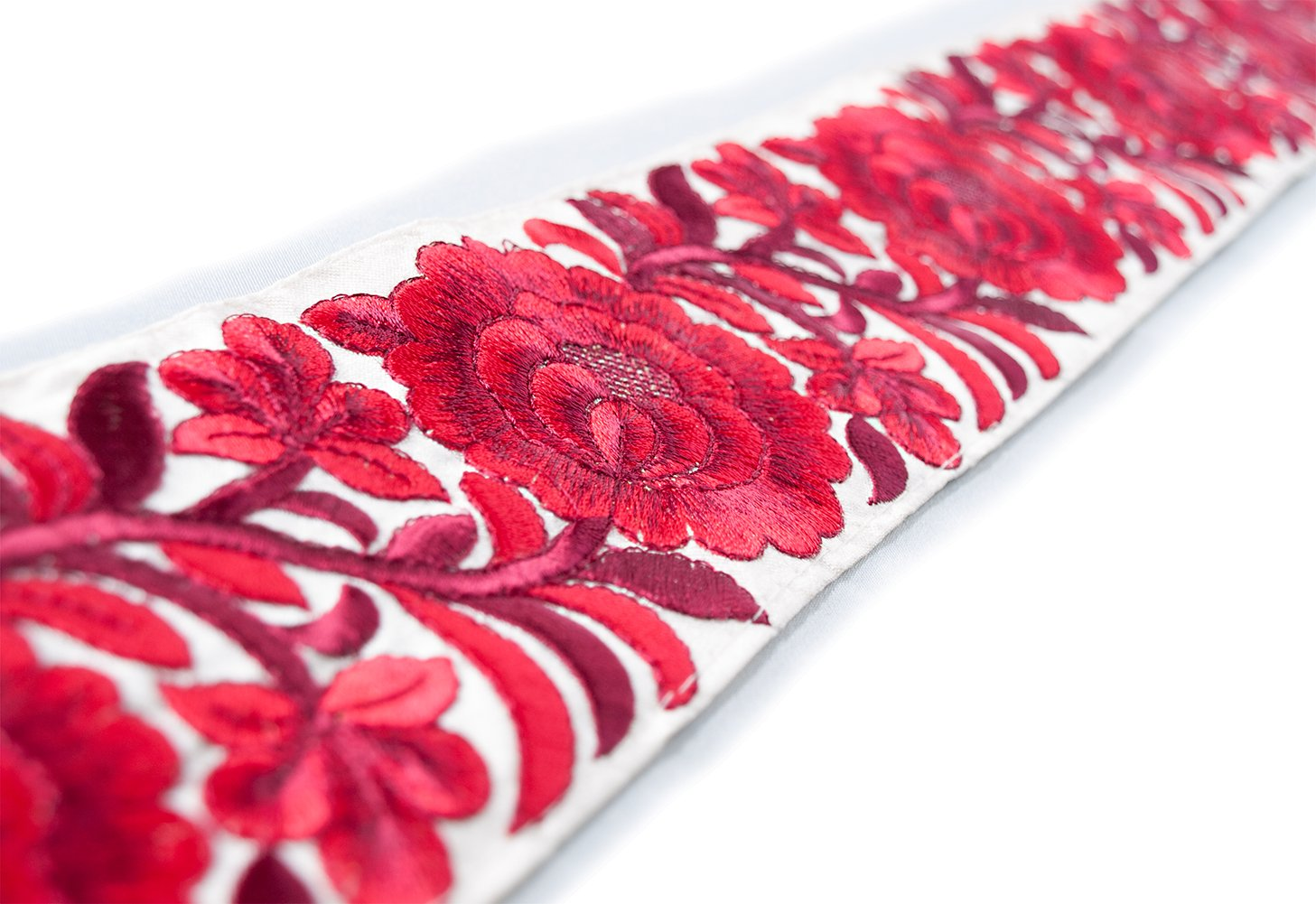 Parsi Satin Stitch Embroidered Trim Shades of Red /& Burgundy 3 Yards /& 3 Wide