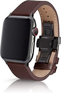 42/44mm JUUK Korza Brun Premium Watch Band Made for The Apple Watch, Made with Genuine Italian Leather with a Solid Stainless Steel deployant Buckle (Black)