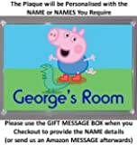 Personalised XL Size GEORGE PIG Bedroom Door Plaque - Plaque Size 16.5cm by 11.5cm - An Ideal Gift