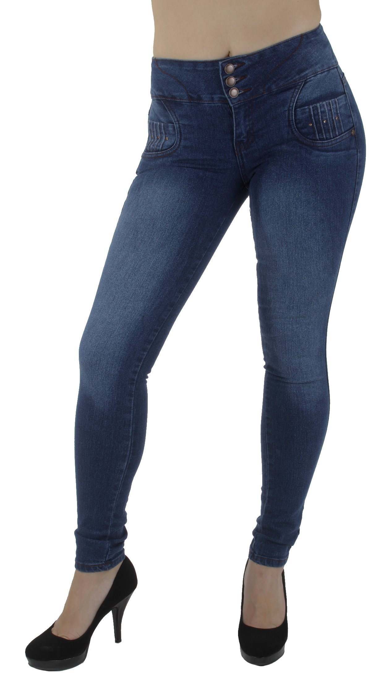 Style M1065- Colombian Design, Mid Waist, Butt Lift, Levanta Cola, Skinny Jeans in M. Blue Size 9