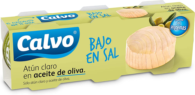 Calvo Atun Claro en Aceite de Oliva, Bajo en Sal - Pack de 3 ...
