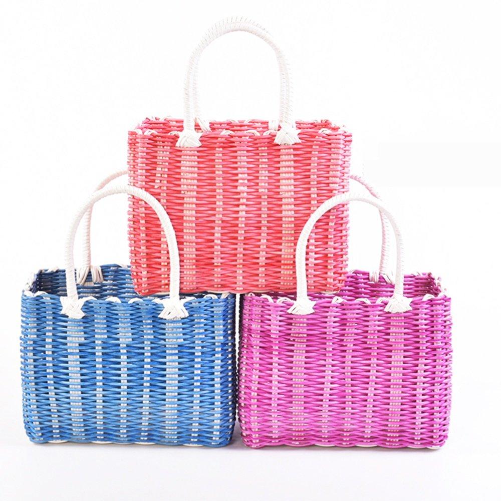 SEESUNG Plastic Woven Bath Blue Bathroom Storage Basket Basket Baby Portable Basket Basket Hanging Basket Flower Basket, Red by SEESUNG (Image #4)