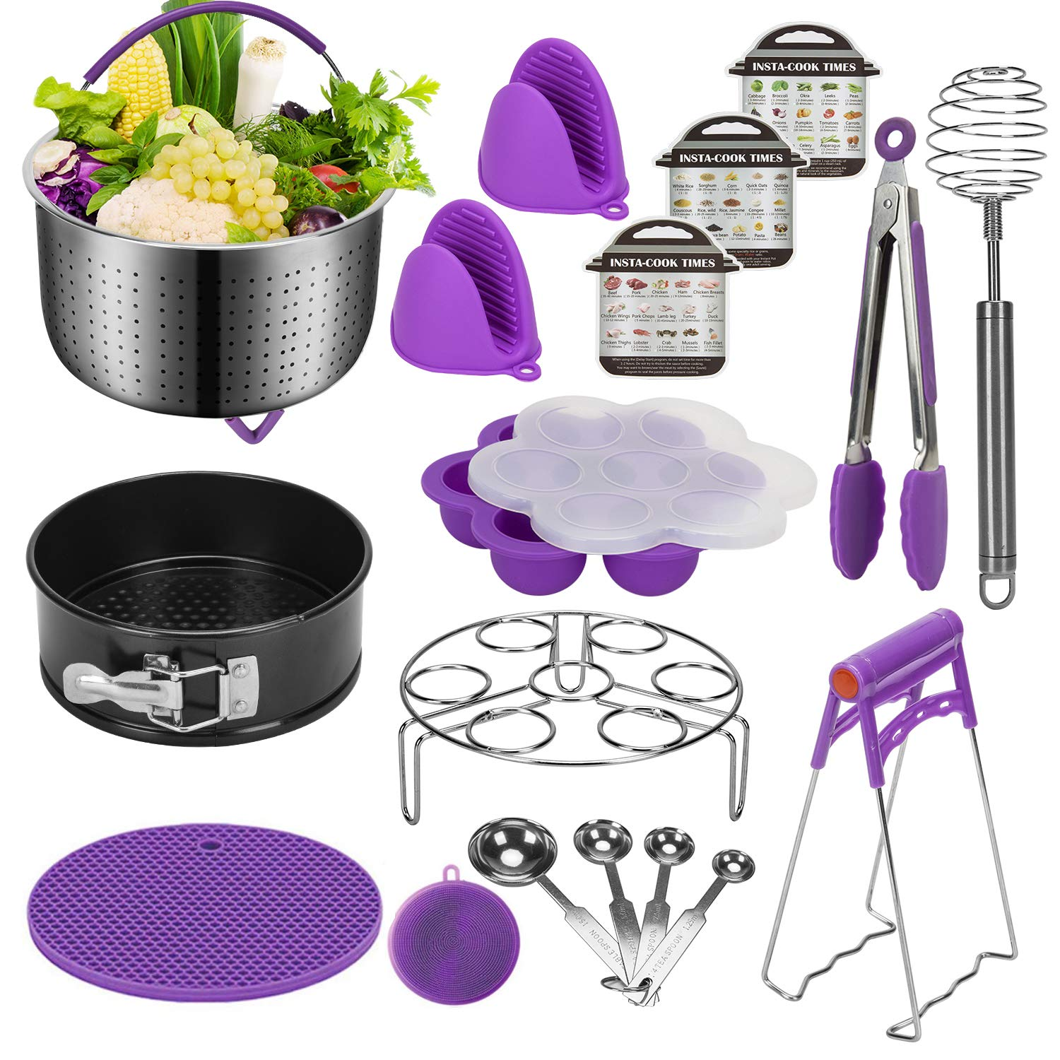 Black Blue Silicon Egg Bites Mold Egg Steamer Rack Instant Pot Accessories Set Compatible with 6,8 Qt Springform Pan Stainless Steel Steamer Basket Magnetic Cheat Sheets and More