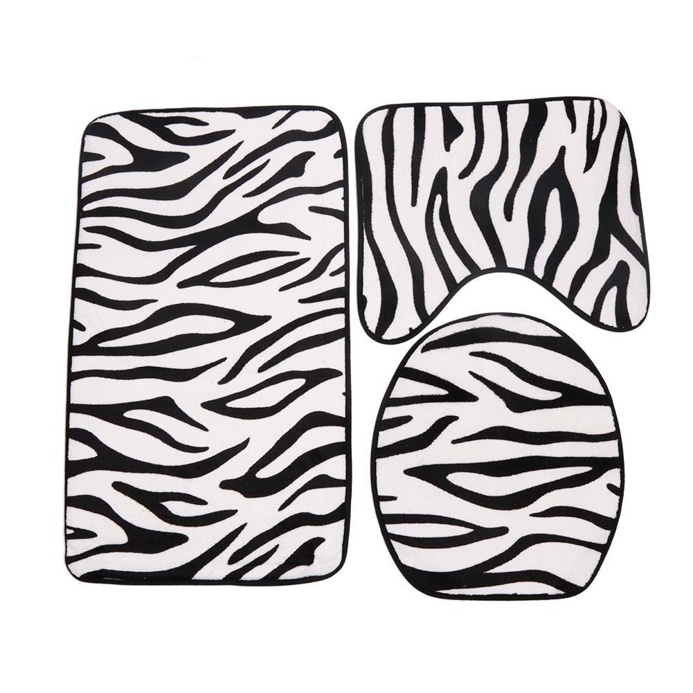 Bath Toilet Mat Awakingdemi 33pcs Zebra Printing Toilet Seat Cover Bathroom Non-Slip Carpet Bedroom Mat