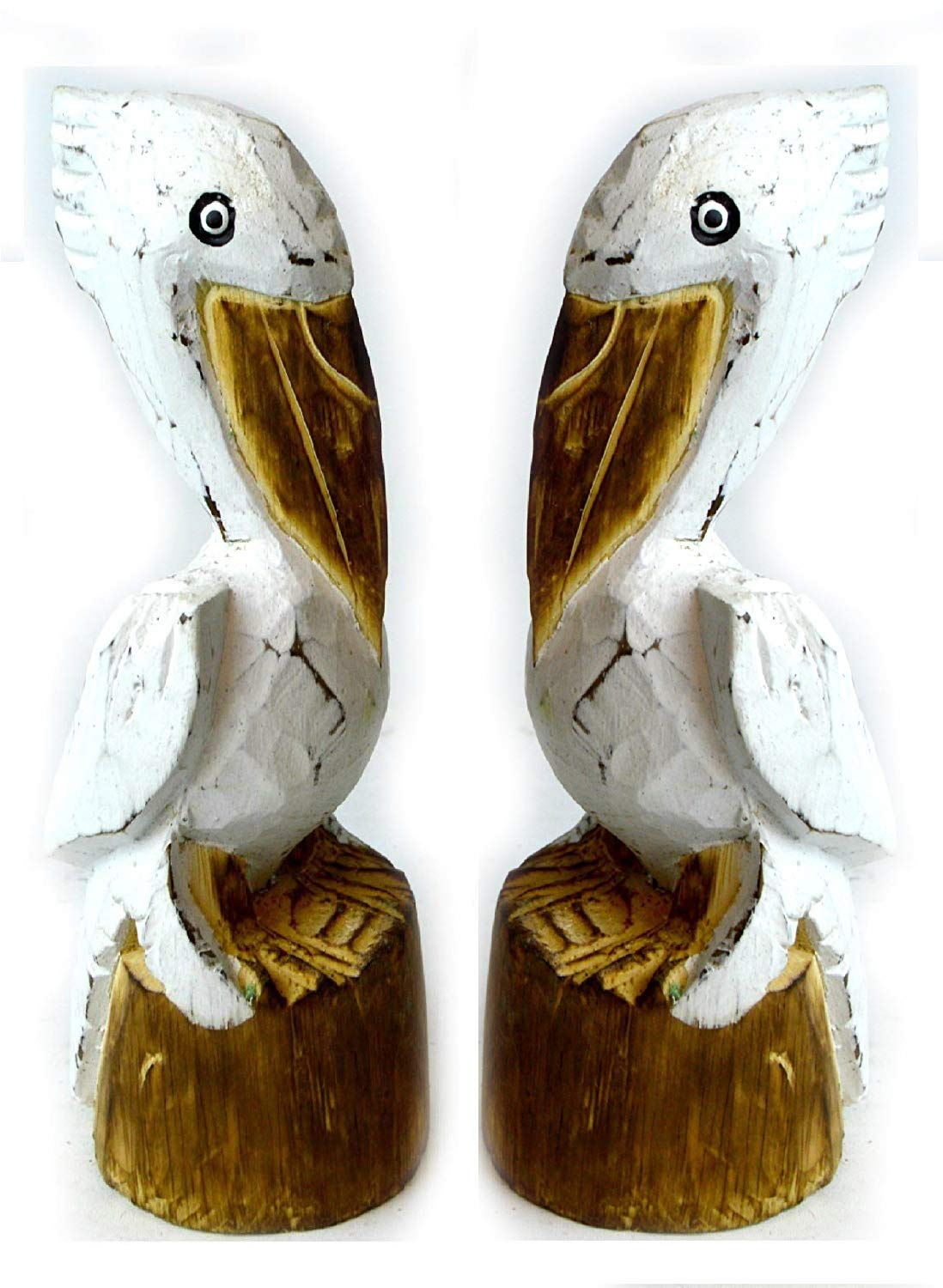 Hand Carved Nautical Wooden Set Of 2 Pelican Statues White Art