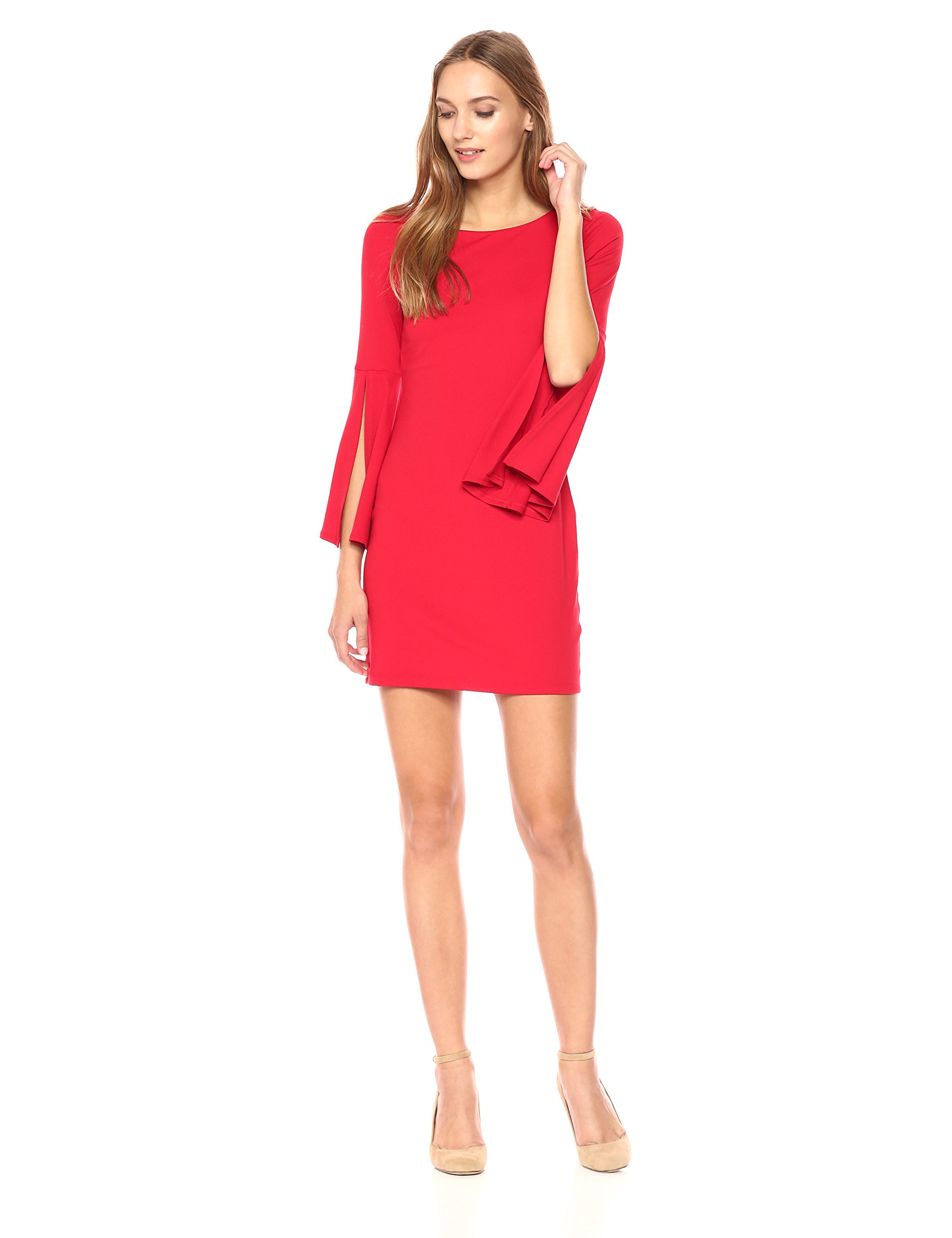 Susana Monaco Women's Arabella Long Sleeve Flare Cuffed Dress, Perfect Red, XL by Susana Monaco (Image #1)