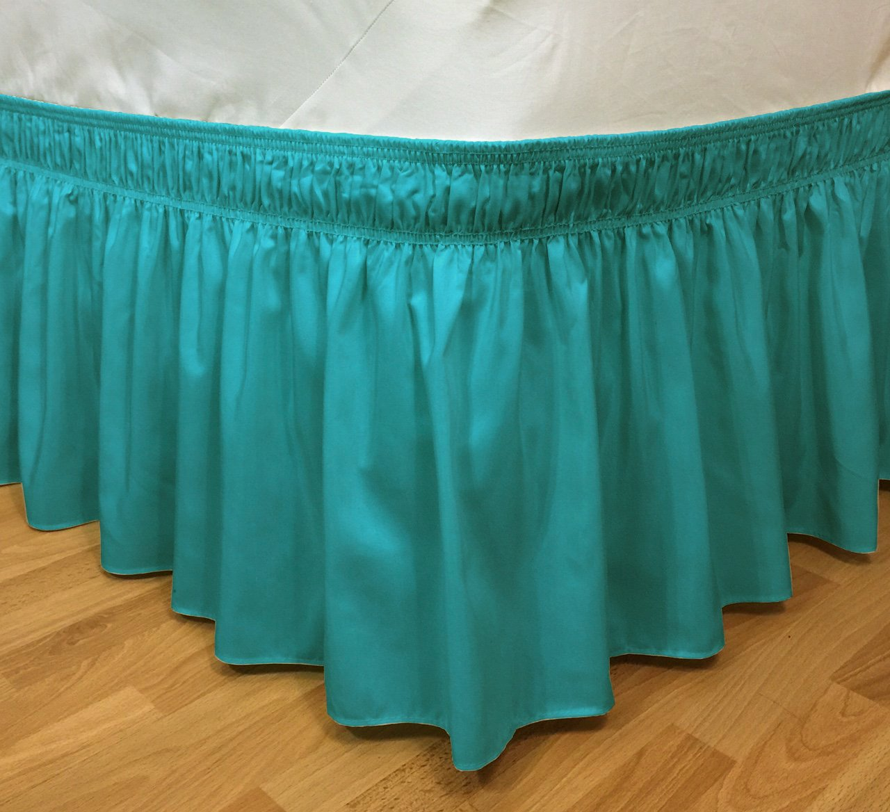 CT DISCOUNT STORE Elastic Ruffle Bed Skirt Easy Warp Around King/Queen Size, Bed Skirt Pins Included By (king/queen, Treasure Turquoise)