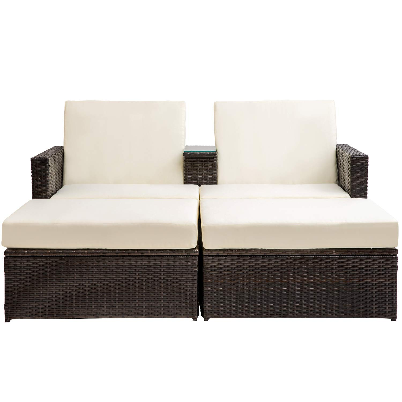 Merax 3 PC Outdoor Rattan Patio Furniture Wicker Sofa//Bed Sectional Lounge Furniture Set