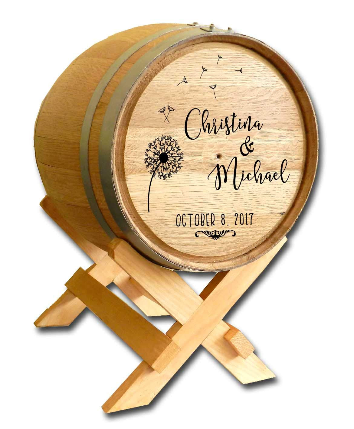 Personalized Dandelion Wedding Barrel Card Holder