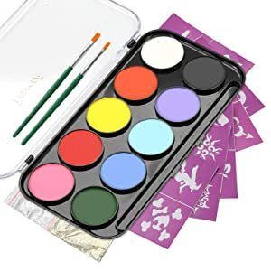 10 Colors Face Paint Palette and Body Art Painting Kit with 36 Stencils, Non-Toxic Water Based Halloween Makeup Set