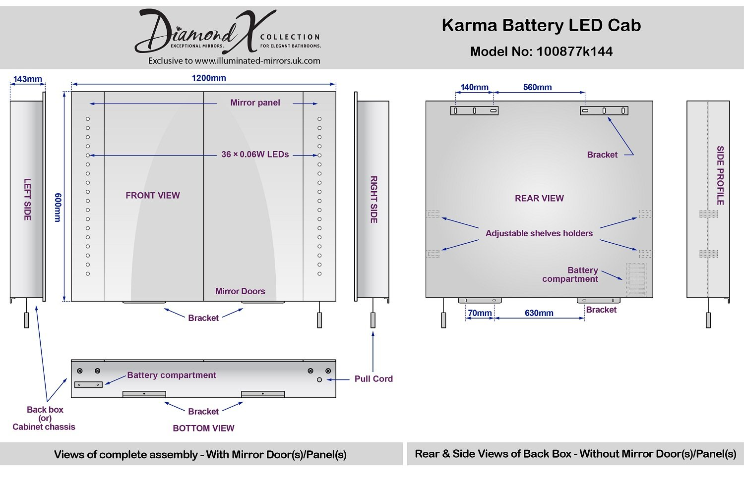 Karma LED Illuminated Battery Bathroom Mirror Cabinet With Pull Cord K144 Amazoncouk Kitchen Home