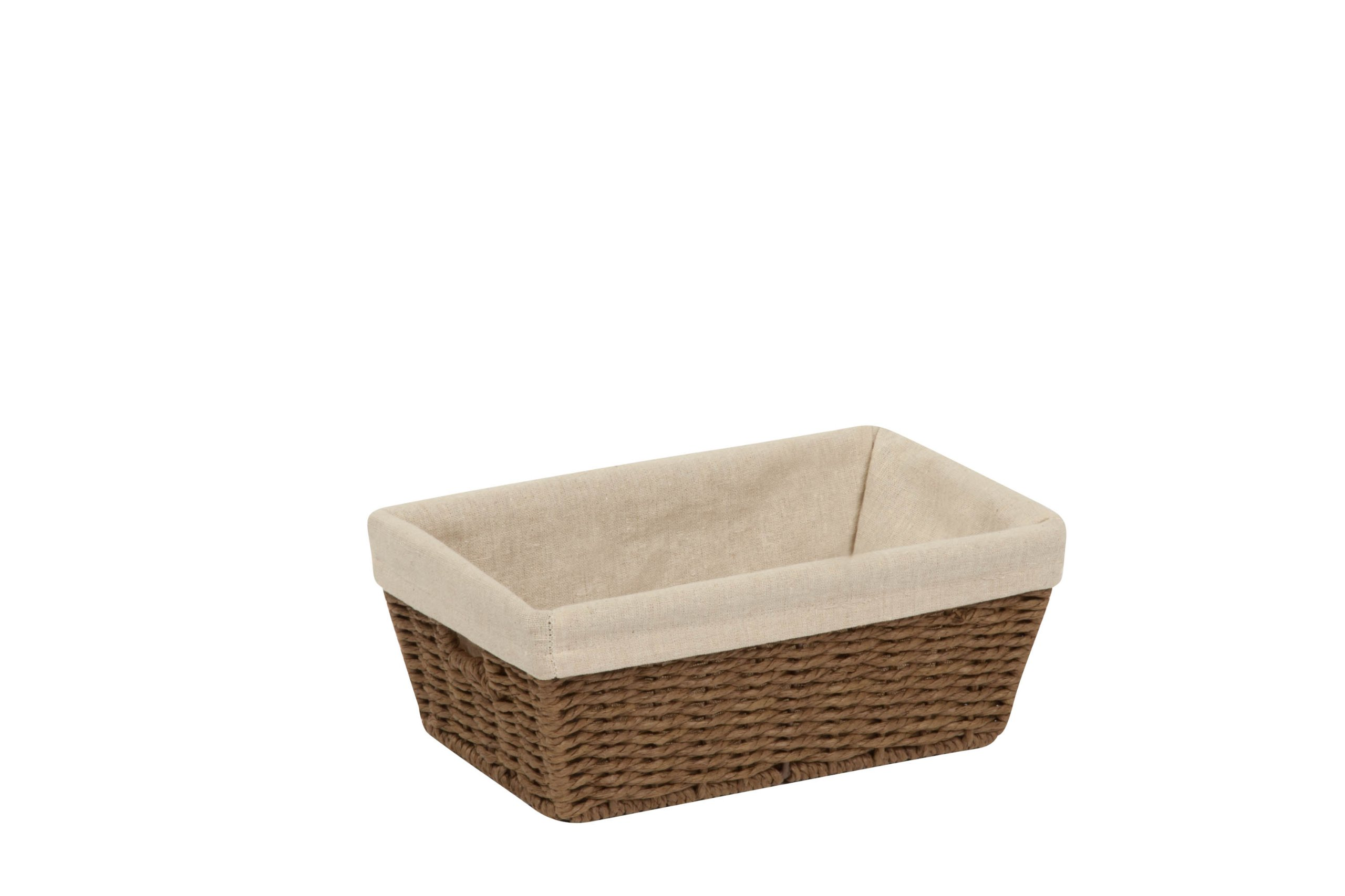 Honey-Can-Do STO-03563 Parchment Cord Basket with Handles and Liner, Brown, 6.89 x 11 x 4.5 inches
