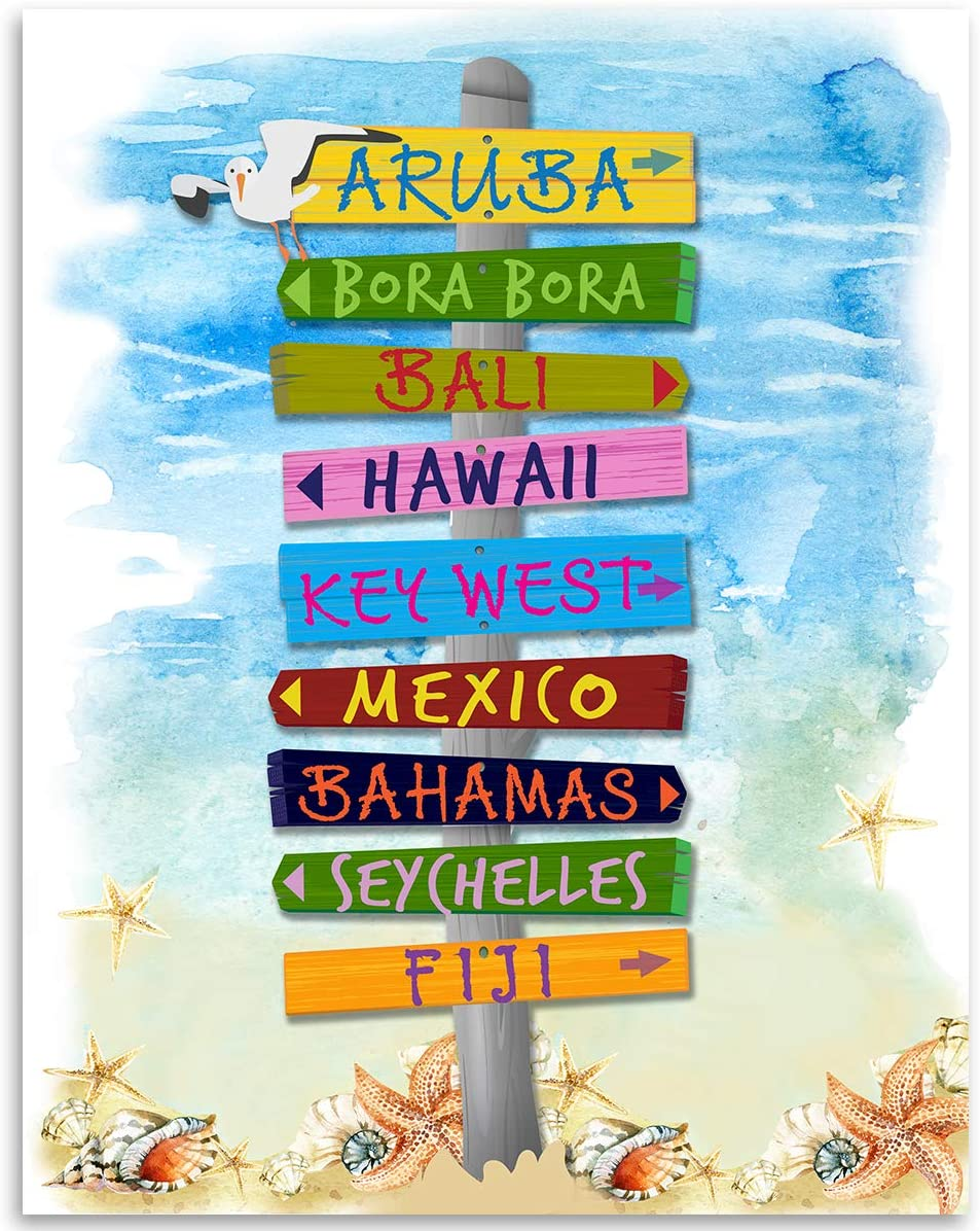 Gabby S Choice Beach Vacation Directional Signs 11x14 Unframed Typography Art Print Great Beach House Sign Resort Decor Posters Prints