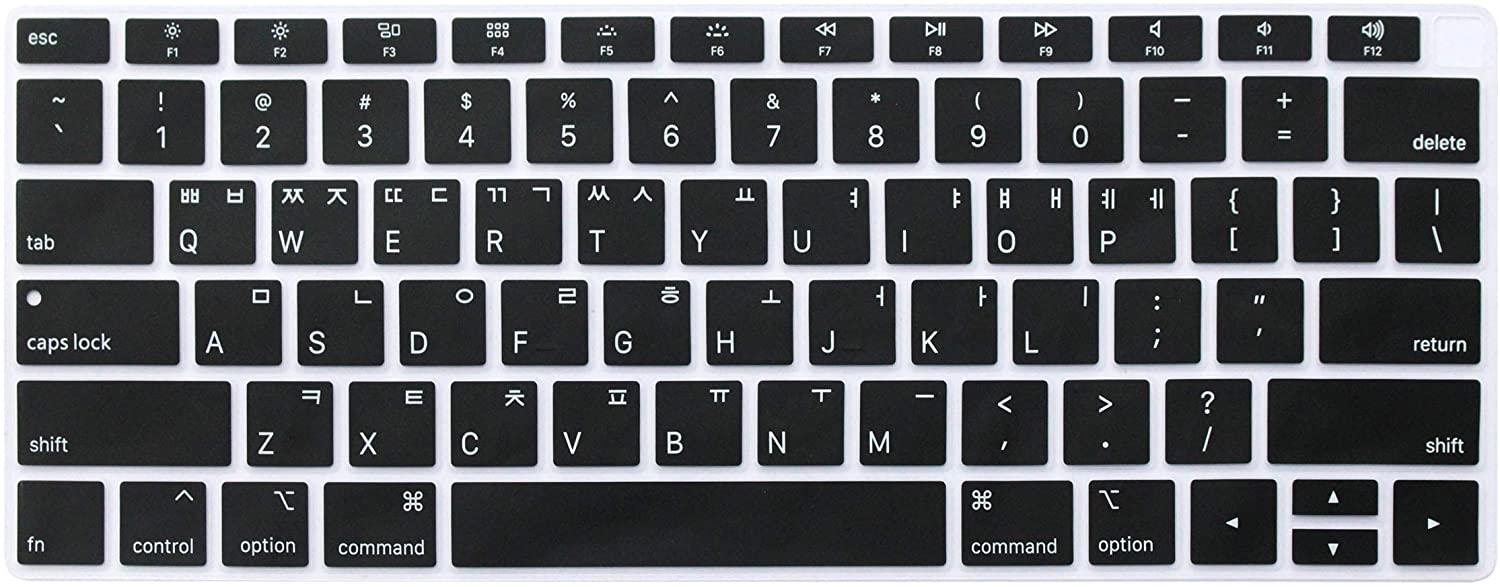 """Ultra Thin Korean Language Keyboard Cover Protective Skin Compatible with Newest MacBook Air 13 inch with Retina Display Model A1932, 2018 Release (not fit Old Version MacBook Air 13"""" A1369 & A1466)"""