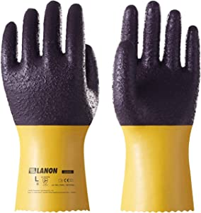 LANON U200 Heavy Duty PVC Safety Gloves, Reusable Ultra Grip Oil Resistant Work Gloves, Anti Abrasion, Anti-aging, Mechanical Resistance, CE Listed, CAT II, Large