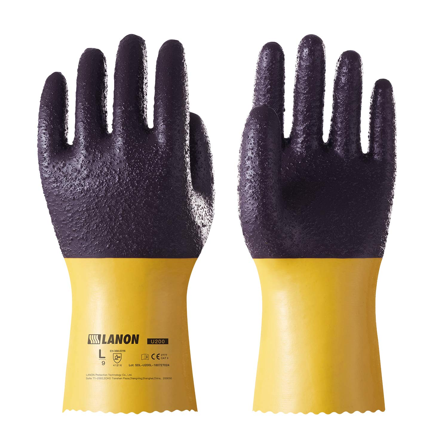 LANON Protection U200 Heavy Duty PVC Safety Gloves, Ultra Grip Mechanical Resistant Reusable Work Gloves, Anti Abrasion, Oil Resistant, Size XL, CE Listed, CAT II