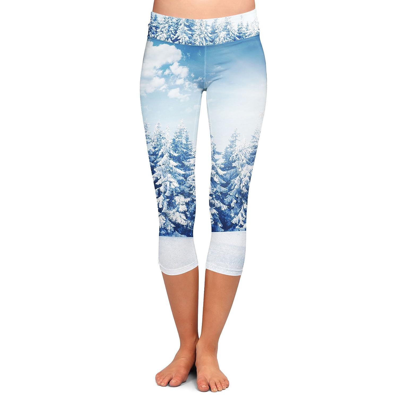 Winter Sun Landscape Yoga Leggings Low Waist Capri 3//4 Length