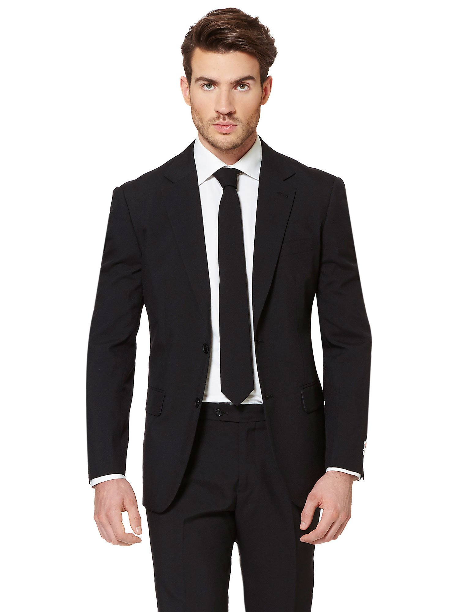 Opposuits Black Knight Solid Black Suit For Men Coming With Pants, Jacket and Tie, Black Knight, US38