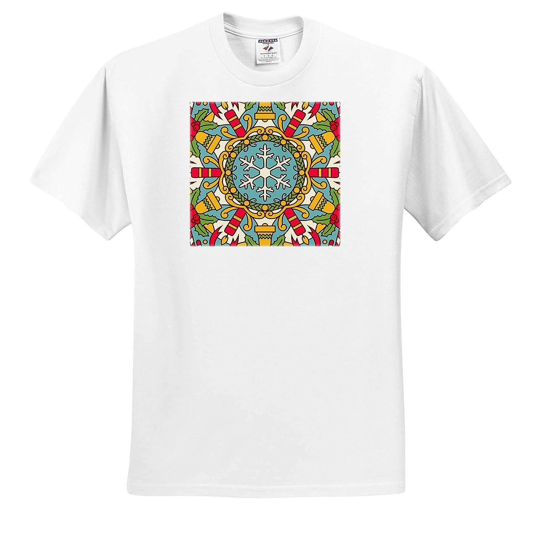 3dRose Alexis Design T-Shirts Cheerful Holiday Decor Winter Season Colorful Mandala Background Mandala Background