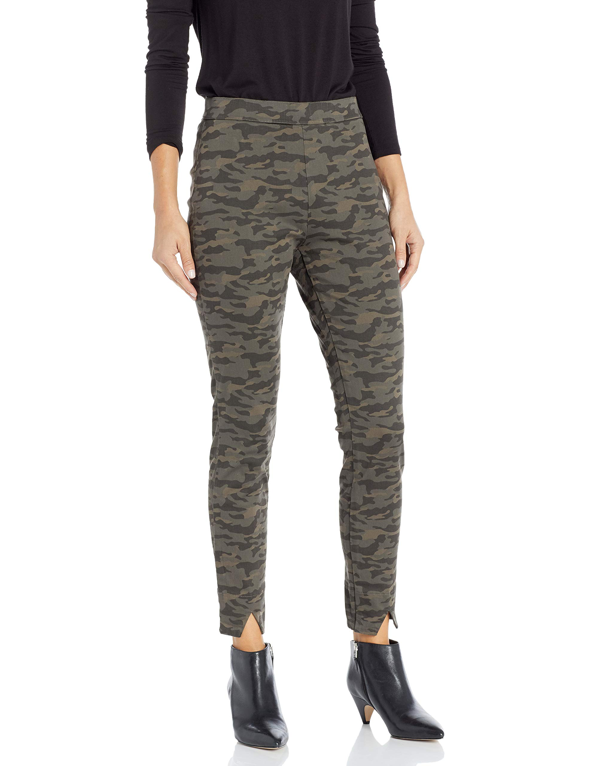 HUE Women's Camo Sateen High Waist Skimmer, Army, Extra Small by HUE