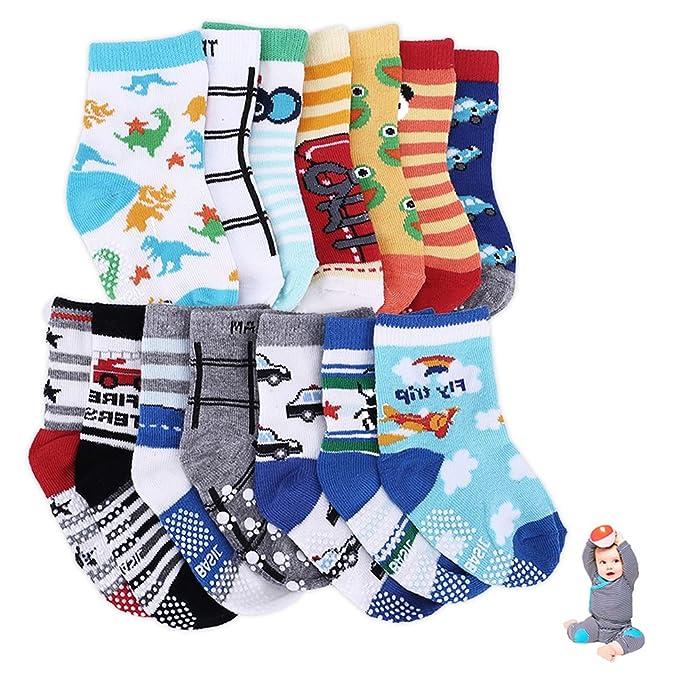 ZhongYeYuanDianZiKeJi 14 Pares de Calcetines Antideslizantes para Bebé Niñas Pequeñas Color Aleatorio Algodón Lindo con Puños: Amazon.es: Ropa y accesorios
