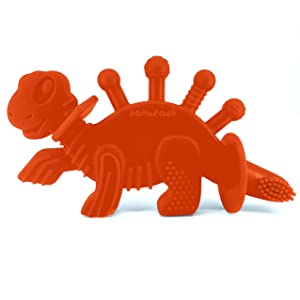 Baby Teether Toy and Training Toothbrush: Dibly - The Dino-Sore-No-More Baby Teething Toy by Bambeado. Our BPA Free Teethers Help take The Stress Out of Teething Plus Make Learning to Brush Fun!