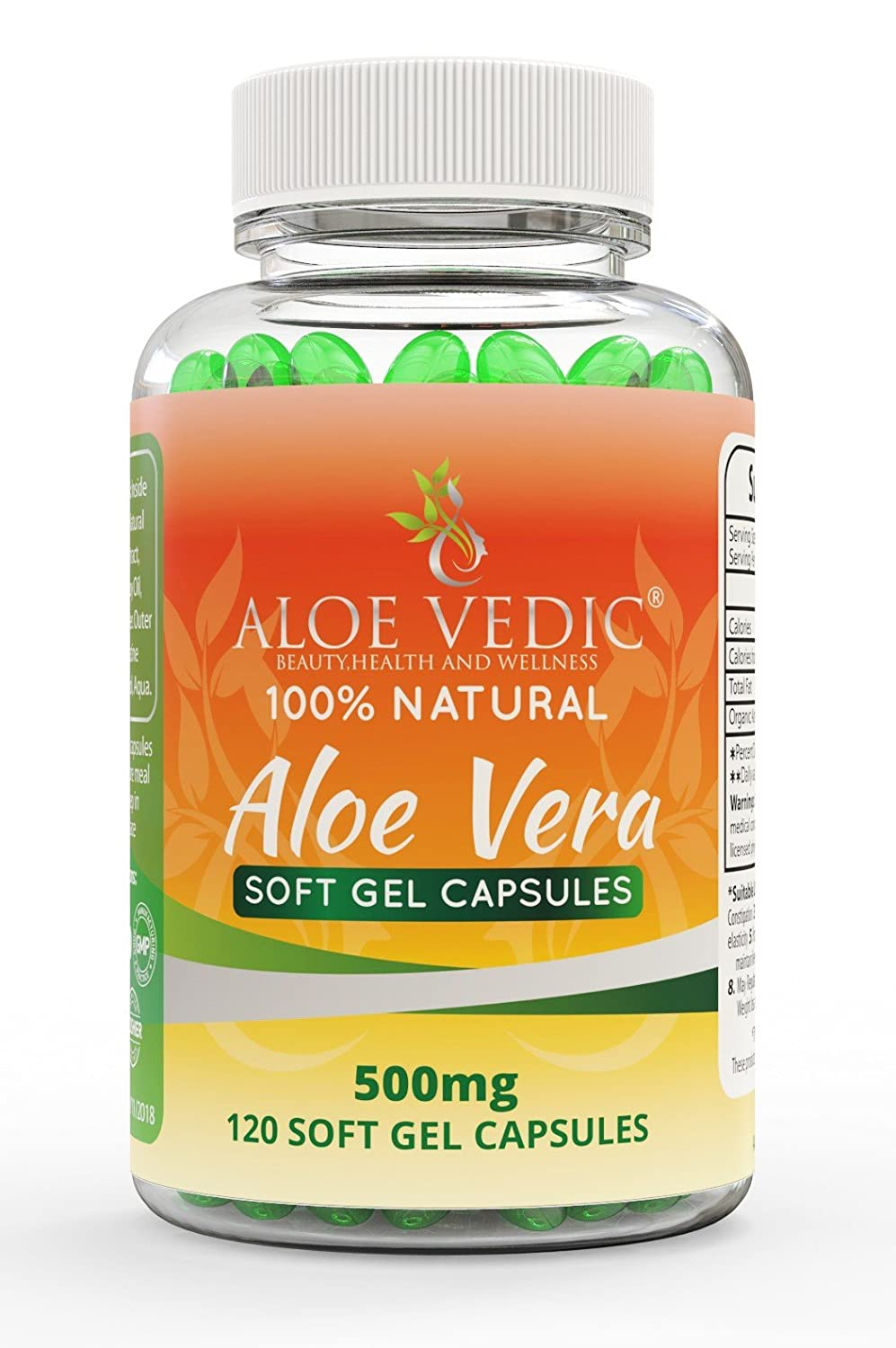 Aloe Vera Soft Gel Capsules-100% Natural Tablets-For Colon Cleanse Detox Digestion Metabolism and skin care, 500mg (120 Pills) By ALOEVEDIC ALOE VEDIC BEAUTY HEALTH AND WELLNESS AloeVeraSoftgel