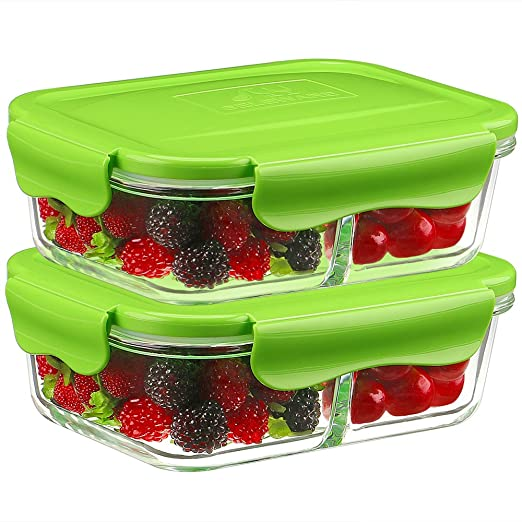 2-Partes,1040ML] Besthouse Cristal Contenedores para Alimentos 2 ...