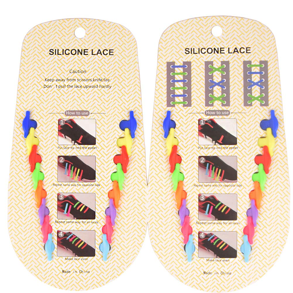 YAKAON No Tie Shoelaces 4 Pairs 8 Pack Waterproof Silicone Rubber Sneaker Shoelaces for Kids and Adults with Multicolor Tieless Shoe Strings /…