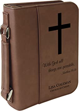 with God All Things are Possible Holy Bible Cover with Cross Gray Personalized