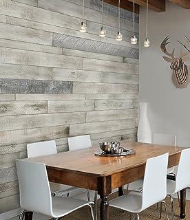 AS IS BRAND Wood Walls (WHITE ISH)   Glue U0026 Stick Aged