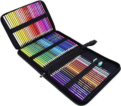 Rock Ninja 72 lápices de colores, incluidos estuche de viaje, sacapuntas, un regalo perfecto para niños, estudiantes, artistas y pintores, lápices de colores con base de aceite para vacaciones: Amazon.es: Oficina y