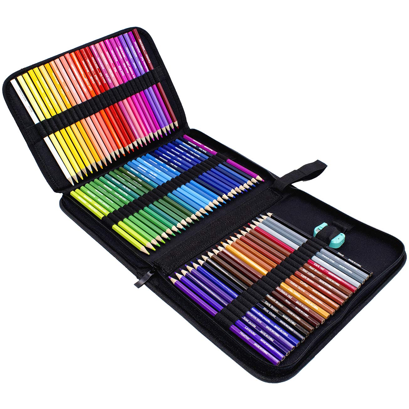 Rock Ninja 72 lápices de colores, incluidos estuche de viaje, sacapuntas, un regalo perfecto para niños, estudiantes, artistas y pintores, lápices de ...