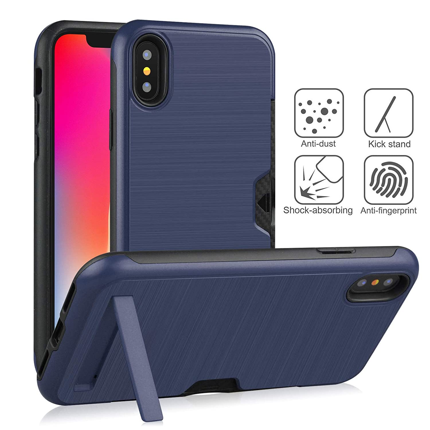 iPhone Xs Max Case,DAMONDY Kickstand Ultra Thin Dual Layer Shock Protective Rugged Armor Hybrid PC+Soft TPU Heavy Duty Protection Card Slot Holder Cover Case for iPhone Xs Max 6.5 inch-Mint
