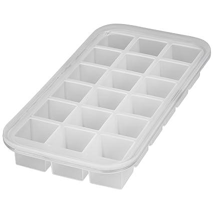 Levivo, Molde de silicona para 18 cubitos de hielo, Blanco, 27.8 x 14.2