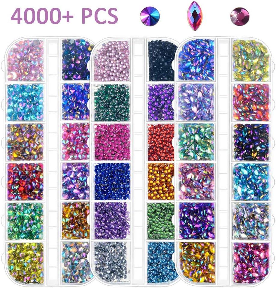 Estrás para decoración de uñas, reverso plano, multicolor, lote de 4000 unidades, incluye pinza de regalo