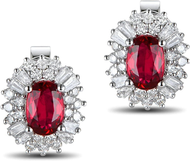 Epinki 18k Oro Pendientes de Mujer óvalo Pendiente Señoras Joyería Tarde Plata con Blanco Rojo Diamante Rubí