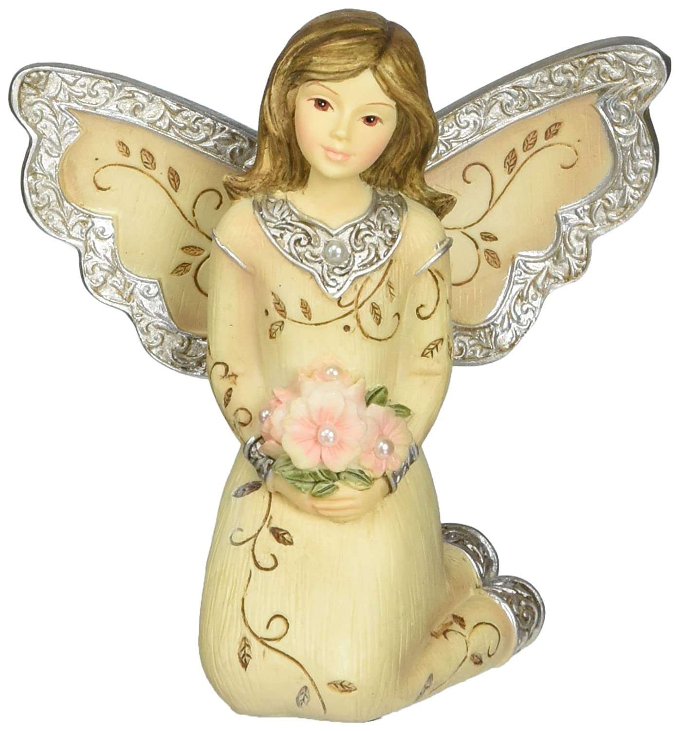 Elements June Monthly Angel Figurine, Includes Pearl Birthstone, 3-Inch