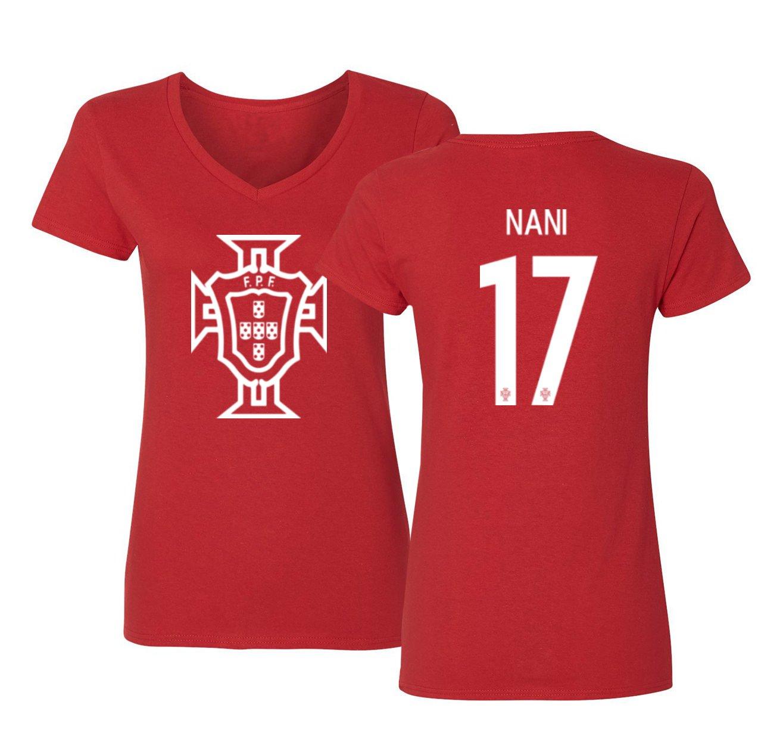 Amazon.com  Tcamp Portugal 2018 National Soccer  17 Luis NANI World  Championship Women s V-Neck Tshirt  Sports   Outdoors 7871aa8c1