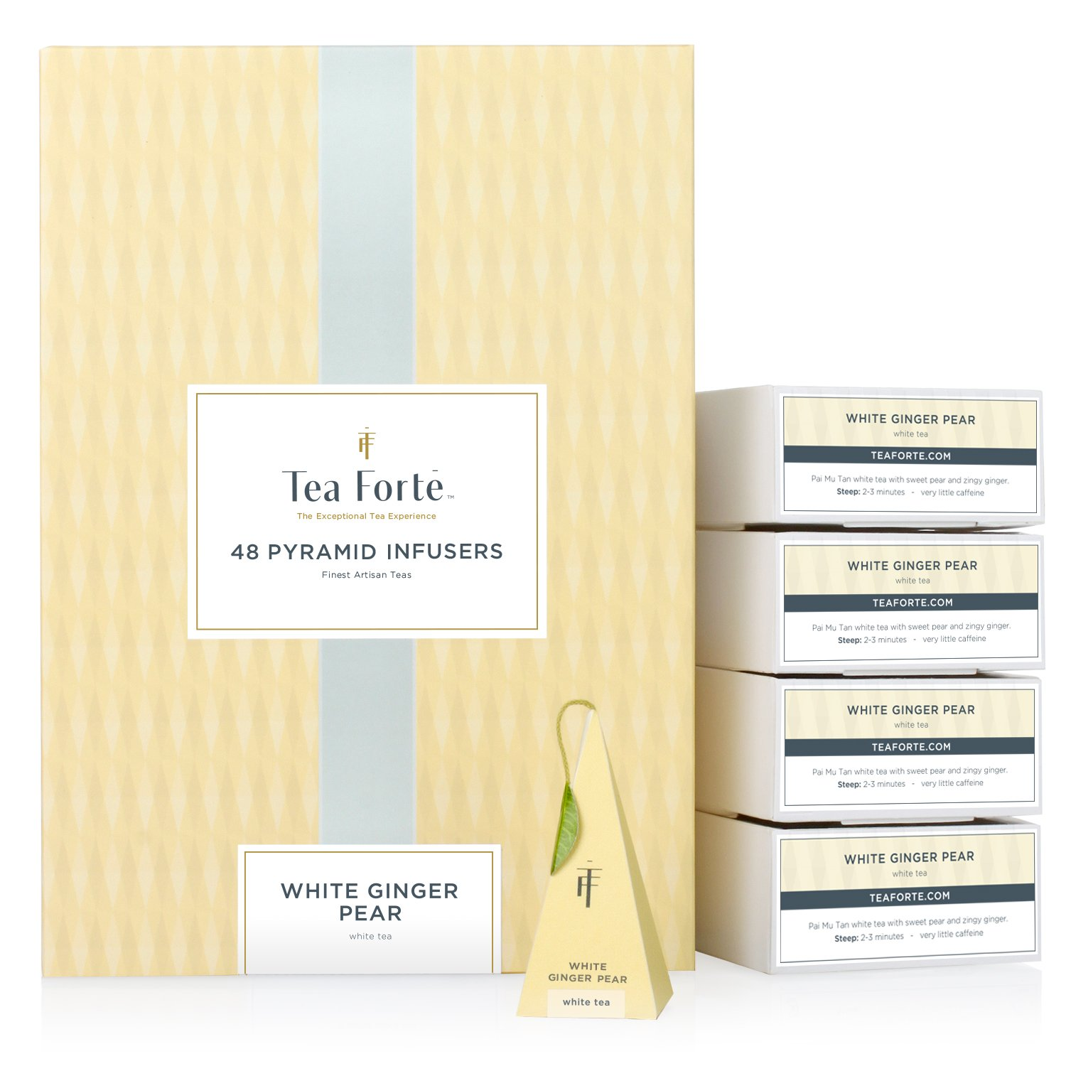Tea Forté BULK PACK White Ginger Pear White Tea, 48 Handcrafted Pyramid Tea Infusers by Tea Forte