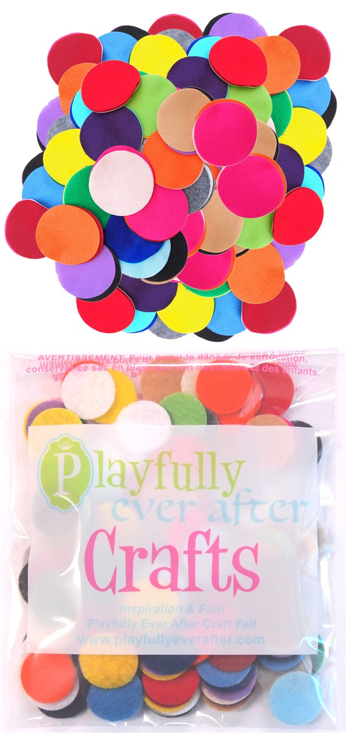 Playfully Ever After 1 inch Mixed Color Assortment 100pc Felt Circles product image