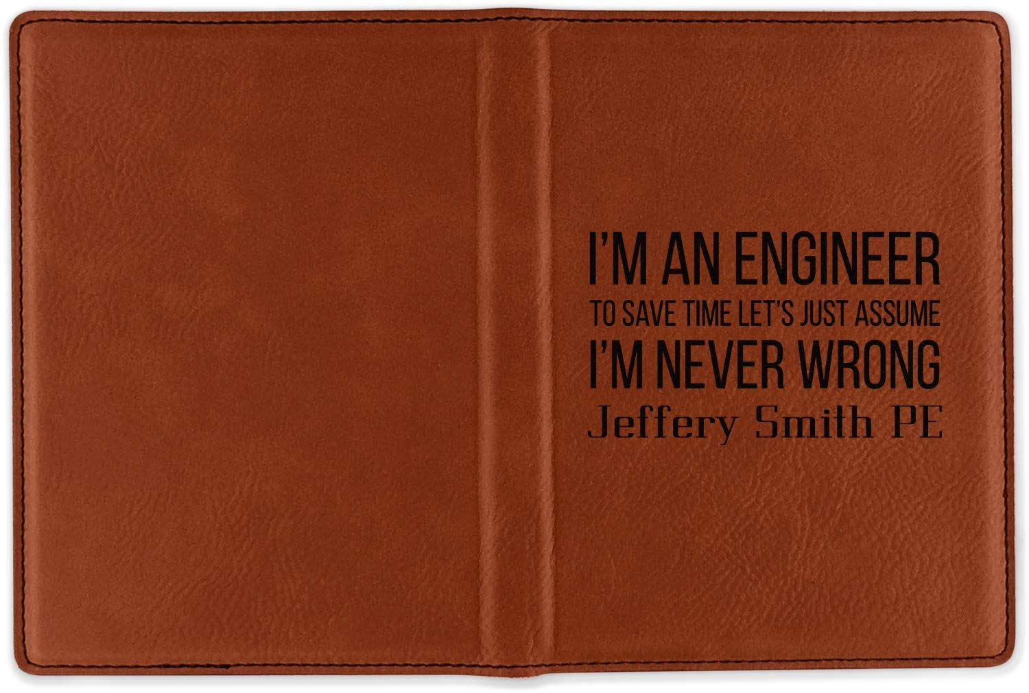 Engineer Quotes Leatherette Passport Holder Single Sided Personalized