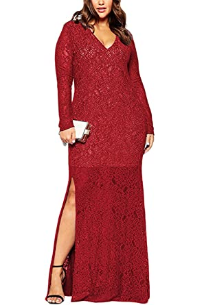 3b0cb437a82 Zumeet Women Long Gown V-Neck Lace Long Sleeves Red Vine at Amazon ...