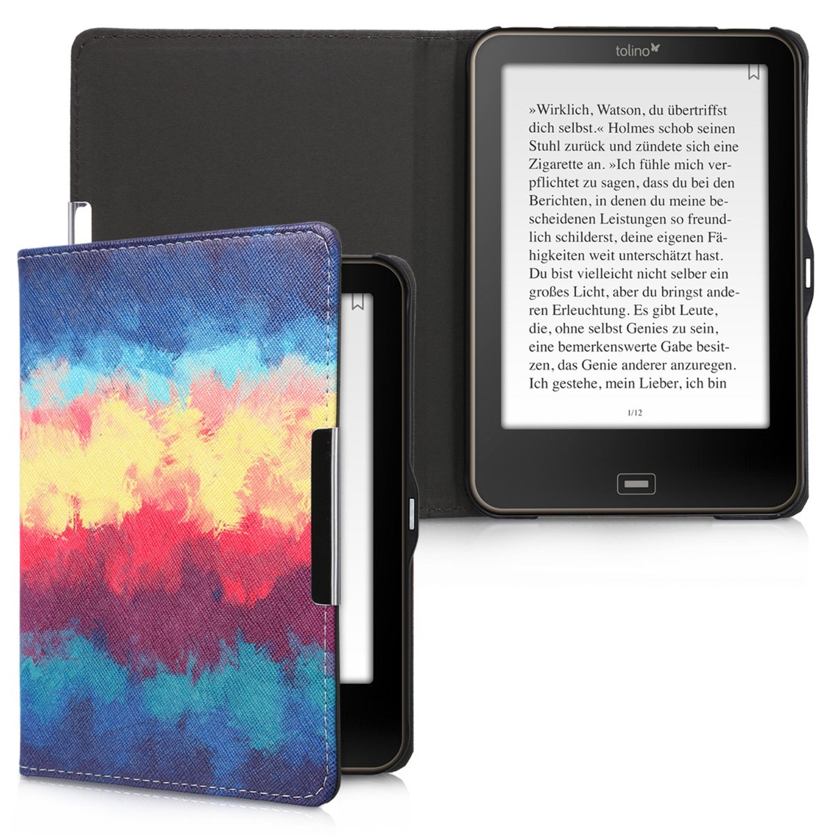 kwmobile Case for Tolino Vision 1/2 / 3/4 HD - Book Style PU Leather Protective e-Reader Cover Folio Case - dark blue yellow red by kwmobile (Image #6)
