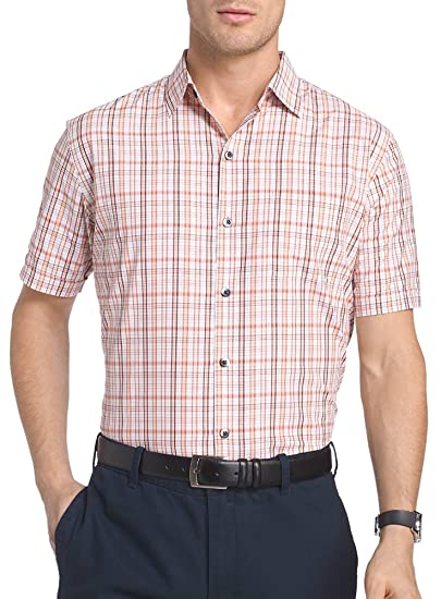 52b92394 Van Heusen Men's Traveler Short Sleeve Air Plaid Button-Down Shirt  (XX-Large, Red Rusted Root) at Amazon Men's Clothing store: