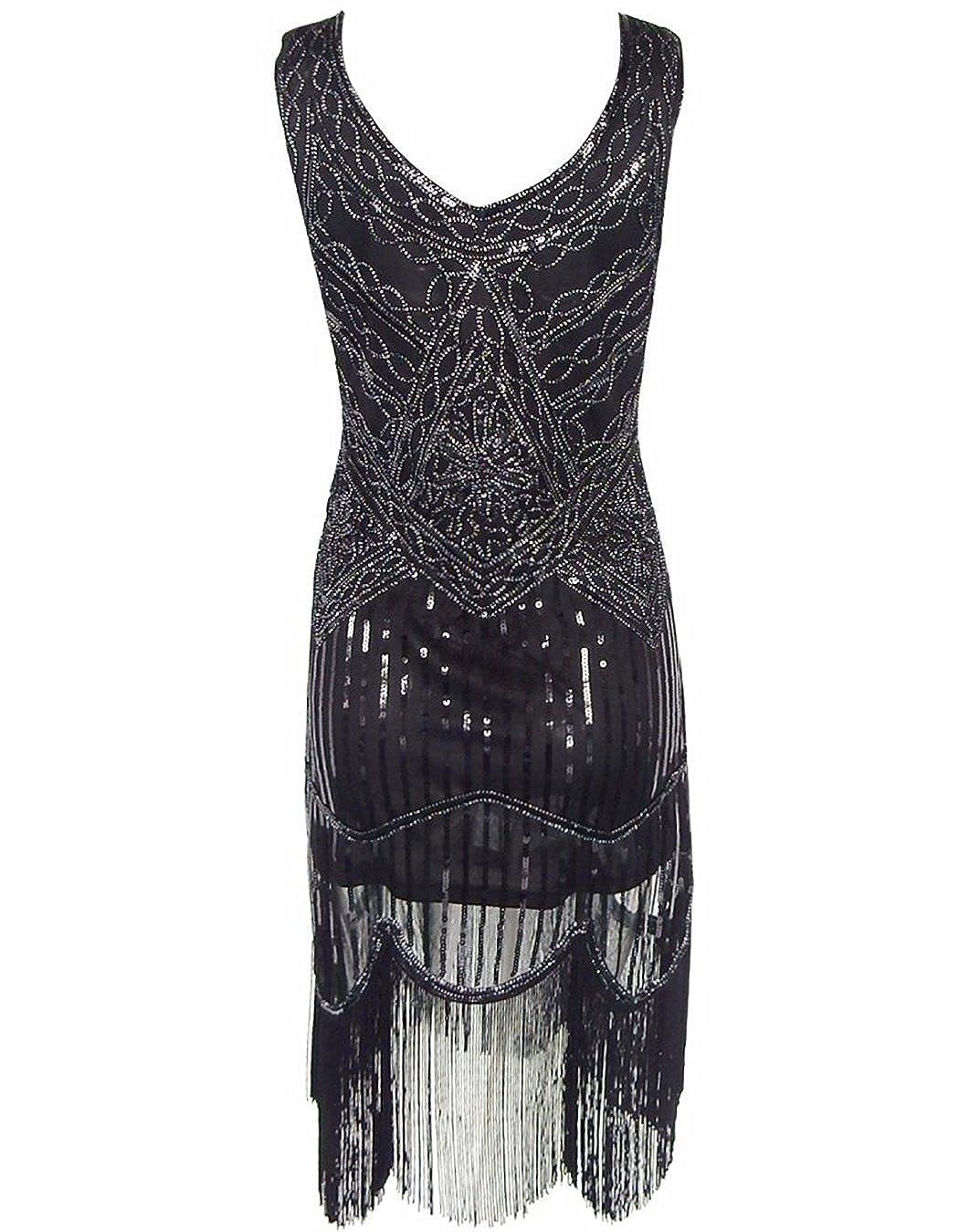 OOFIT Damen Partykleid V-Ausschnitt 20s Gatsby Downton Wulstige ...