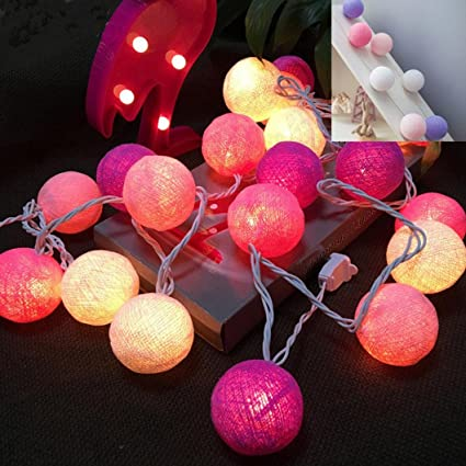 20 Cotton Christmas Ball String Lights Fairy Hanging Wedding Bedroom Living Room Patio C