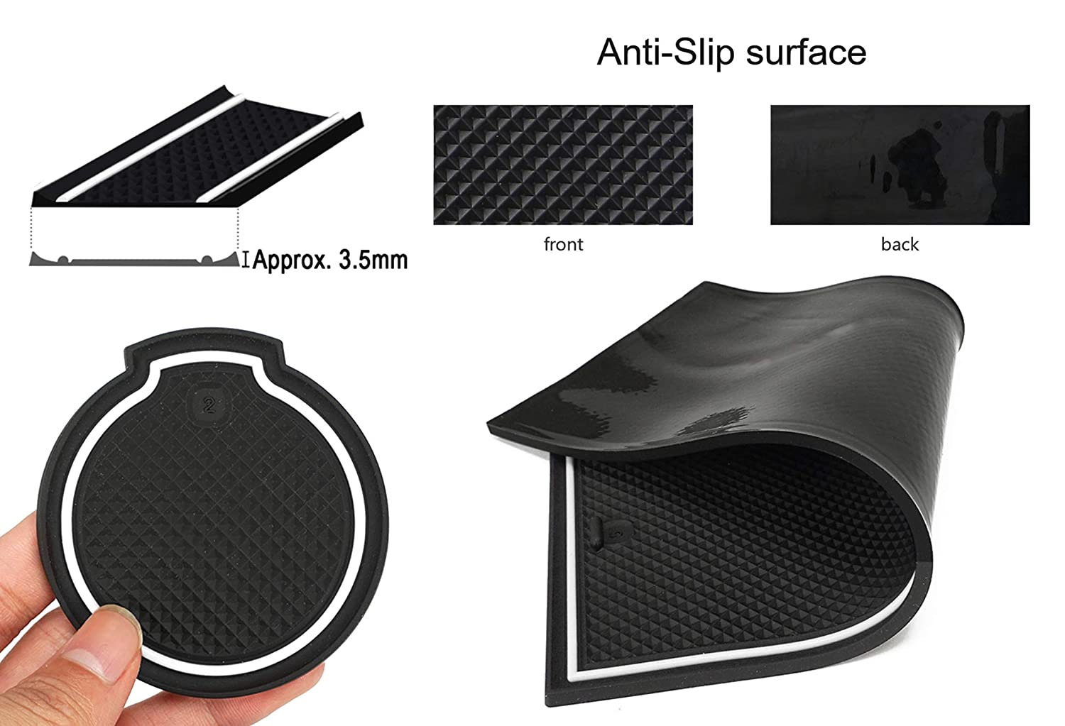 16pcs//set,black Auovo Anti dust Mats for 2016-2019 Toyota Prius Interior Accessories Custom Fit Door Pocket Liners Cup holder Pads Console Mats
