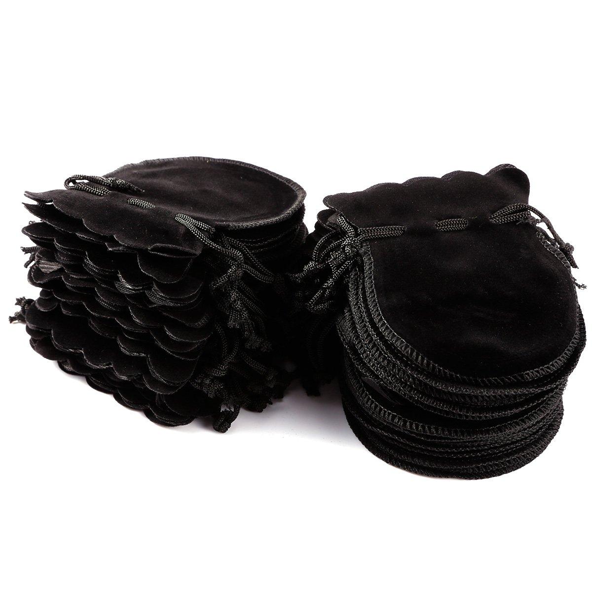 Surepromise 50 PCS Black Velvet Felt Jewellery Pouch Charms Bracelets Earrings Gift Bag